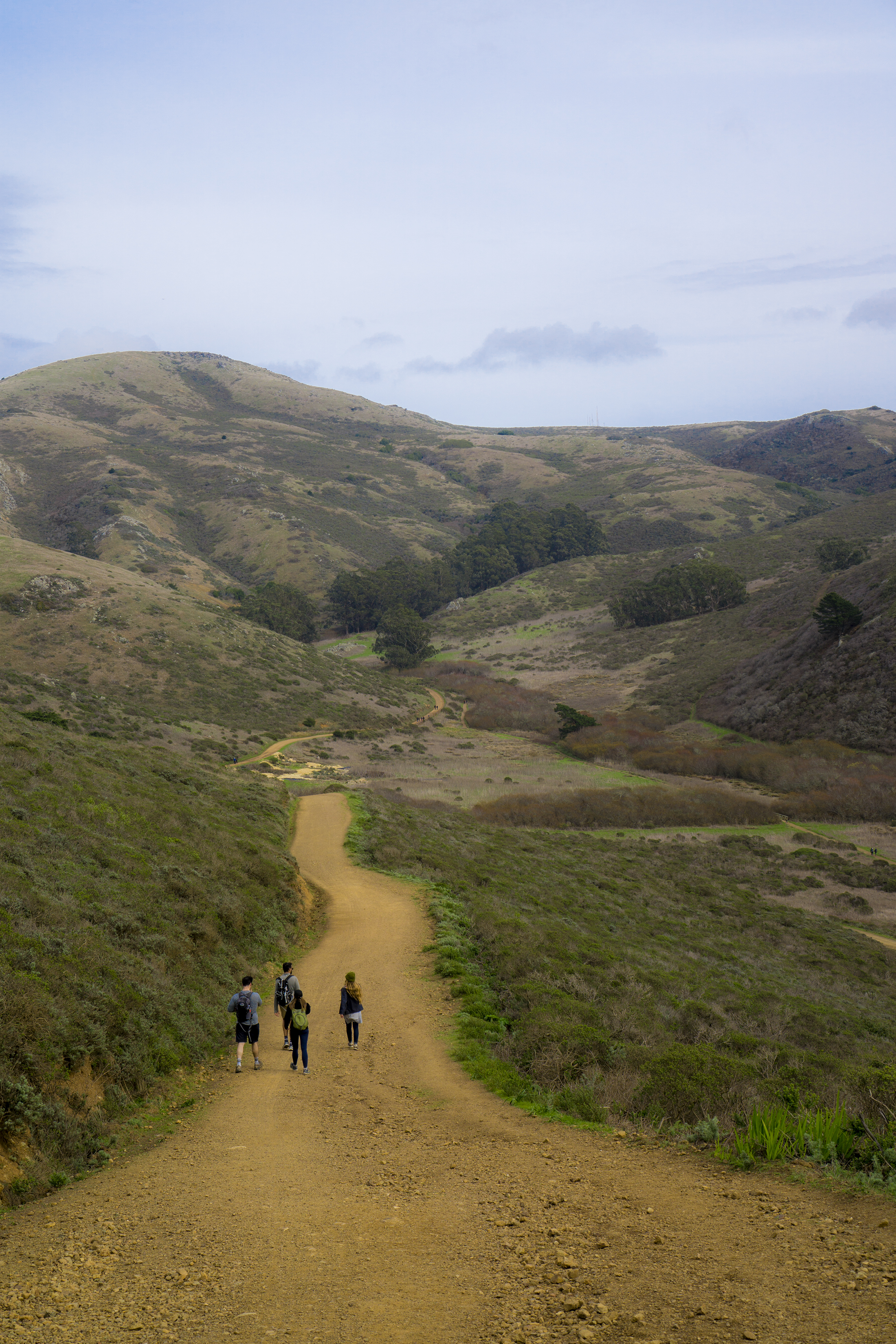 Group hiking Tennessee Valley Trail, Marin Headlands, Golden Gate National Recreation Area / Darker than Green